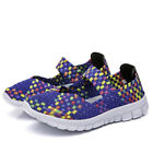 Women Lady Breathable Slip On Trainers Woven Elasticated Casual Shoes Size UK3-9