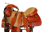 WESTERN SADDLE RANCH ROPING CUSTOM LEATHER FLORAL TOOLED LEATHER HORSE 16 17