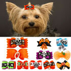 20/100pcs Halloween Holiday Skull Bat Pumpkin Pet Cat Dog Hair Bows Rubber Bands