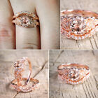 Women Wedding Engagement Ring Rose Gold Rhinestone Crystal Rings Jewelry Gifts