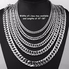 2-16mm Men's Stainless Steel Silver 316l Curb Link Chain Chunky Necklace Gift