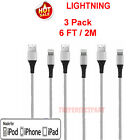 For iPhone 5 6 7 8 XS XR Lightning Charger Cable Heavy Duty Charging Cord Silver