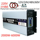 Intelligent Pure Sine Wave Inverter DC12V24V48V60V to AC110/220V Max 2000-6000W