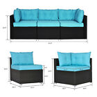 3 PCS Patio Rattan Sofa Set Outdoor Home Sectional Wicker Chairs with Cushions