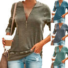 Womens Long Sleeve Shirt V Neck Solid Blouse Ladies Casual Loose Tunic Tee Tops