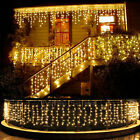 Warm White LED Fairy Icicle Curtain Lights Party Indoor Outdoor Xmas Decoration