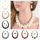 Fashion Jewelry Set Earring Faux Pearl Necklace Clavicular Chain Pendant Women image