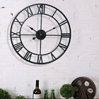 40CM WALL CLOCK BIG ROMAN NUMERALS GIANT OPEN FACE METAL HOME DECORATION ROUND