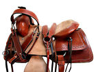 HARD SEAT RANCH ROPING WESTERN SADDLE 17 16 15 TRAIL PLEASURE TOOLED LEATHER SET