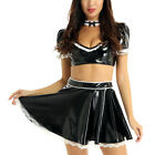 Womens Patent Leather French Maid Cosplay Costume Crop Top Skirt Choker Outfit