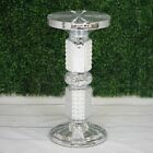 """26"""" tall Silver White Wedding Column Riser with Pearls and Mirror Mosaic Party $110.66 USD on eBay"""