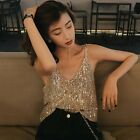 Womens Sexy V Neck Glitter Sleeveless Vest Loose Sequined Strapless Tank Top New