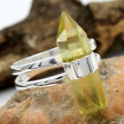 Lemon Topaz Gemstone (Lab) 925 Sterling Silver Jewelry Pencil Ring size us 4-8.5