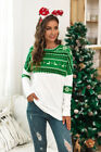 Xmas Womens Tee Shirt Ladies Loose Jumper Christmas Blouse Patchwork Party Tops