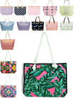 Womens Beach Bag Multi Pack Large Canvas Tote Holiday Rope Straw Handbag New