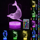 3D Dolphin Illusion LED Night Light 7/16Color Touch Table Desk Lamp For Kid Gift
