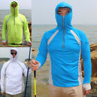 Men Women Polyester Long Sleeve Fishing Shirt UV Protcing Clothes with Hood