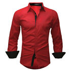 Mens Luxury Long Sleeve Casual Shirt Slim Fit Formal Dress Shirts Lapel Tops Tee