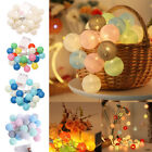 10 20 Led Globe Cotton Balls String Fairy Lights Home Party Christmas Decoration