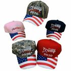 Trump Hat Embroidered President Trump 2020 With US Flag Print Hat NEW