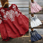 ZANZEA Women Cotton Floral Embroidered Crochet Shirt Tops Frill Loose Blouse Tee