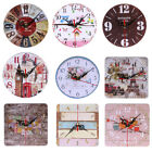 1Pcs Vintage Wooden Wall Clock Large  Shabby Chic Rustic Kitchen Home Antiq F07#