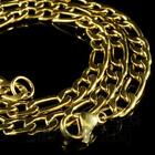 18k Ip Gold Plated Solid Figaro Chain Men's Link Necklace 316l Stainless Steel