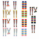 Rainbow Striped Knee Thigh High Socks  Arm Warmer Gloves Cosplay Costume Party