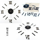 Modern DIY 3D Wall Clock Roman Numerals Mirror Decal Stickers Home Decorations