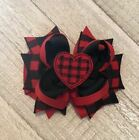 Valentine's Buffalo Plaid Boutique Hair Bow