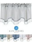 Kate Aurora Elegant Beaded Scalloped Window Valance Curtains - Assorted Colors