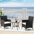 3/4 Pcs Outdoor Patio Furniture Garden Rattan Set W/ Table Chair And Cushion Set