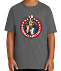 America Hell Yeah Kid's T-shirt Uncle Sam Patriotic Stars Tee for Youth - 2024C