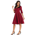 Womens Elegant Formal Simple Red Black Cocktail Party Bridesmaid Cute Dress Gown