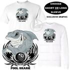 Billiards Eight 8 Ball Great White Pool Shark Gray Cartoon White T Shirt S-3X $16.95 USD on eBay