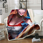 Funny Harley Quinn 3D Print Sherpa Blanket Sofa Couch Quilt Cover throw blanket $15.99 USD on eBay