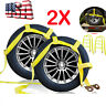 Car Dolly Wheel Net Tire Basket Tow Strap Snap Hook Heavy Duty Set 2 Yellow US