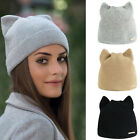 Lovely Cat Ears Hat Winter Knitted Ladies Solid Color Warm Gift Hat Hoodie Cap