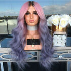Ladies Fashion Long Curly Wavy Full Wig Ombre Pink Purple Synthetic Hair Cosplay