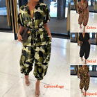 Women Batwing Sleeve Jumpsuit Casual Loose Cargo Belted Romper Dungaree Playsuit