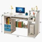 Maple Computer Desk PC Table Home Office Kids Study Workstation & Side Bookshelf