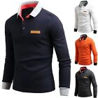 New Mens Dandy GENS Patch Long Sleeve Cotton T-Shirts Collar Polo Top W03 XS-M