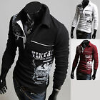 Mens Dandy Vintage Dragon Printed Long Sleeve Polo Collar T-Shirts Tops W802 S/M