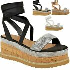 Womens Ladies Flatform Diamante Wedge Sandals Platform Ankle Lace Up Summer Size