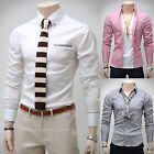 Mens New Luxury Slim Business Casual Dress Shirts Long Sleeve Formal Top W038
