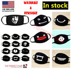 Kyпить Cartoon Face Mask Cover Funny Unisex Teeth Mouth Black Cotton Printed Washable на еВаy.соm