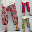 ZANZEA Women Summer Floral Trousers Loose Baggy Capris Vintage Retro Pants NEW