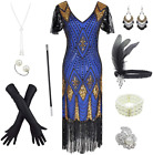 Women's 1920s Gatsby Inspired Sequin Beads Long Fringe Flapper Dress w/Accessori