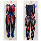 Women's Casual Party Striped Sleeveless Free Size Jumpsuit Romper Various Colors