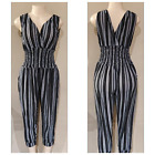 Women's Party Striped Casual Summer Sleeveless Jumpsuit Romper Dress w/pockets